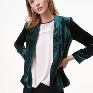 LOFT Emerald Green Velvet Open Blazer S Crushed